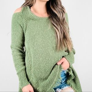 ANTHROPOLOGIE Ruby Moon Knit Cold Shoulder Sweater